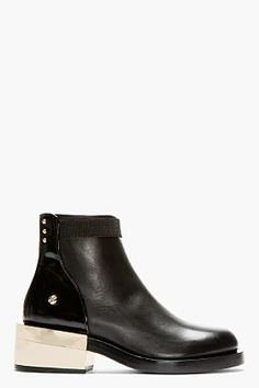 GIVENCHY Black leather & pale gold hardware Bal Boot