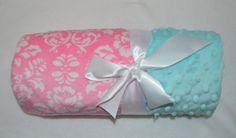 Monogrammed Minky Baby Blanket Bubblegum Pink & by MoonbeamMinky