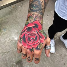 Top shot of the hand I did last week #tattoo #art #rosetattoo #igdaily…