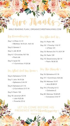 Thanksgiving Bible Study - Give Thanks Bible Reading Plan Bible Studies For Beginners, Bible Study Lessons, Bible Study Plans, Bible Plan, Bible Study Guide, Bible Study Journal, Bible Reading Plans, Couples Bible Study, Bible Journaling For Beginners