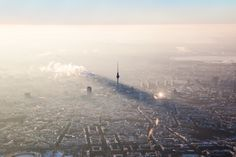 Berlin from above. Fog and mist over Cities, always make them more like a fairytale