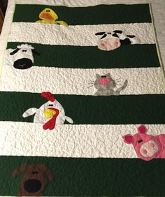 Embroidery Baby Quilt Block Patterns Embroidered Baby Quilts Embroidered Baby Blankets Patterns Darling Farm Animal Baby Quilt Ready To Be Adored And Loved By A Little One This Quilt Features Embroide Farm Animal Quilt, Farm Quilt, Drunkards Path Quilt, Baby Quilt Patterns, Baby Boy Quilts, Children's Quilts, Quilts For Babies, Baby Quilts Easy, Block Patterns