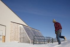 Using a specialized greenhouse, farmers Tom Prieve and Sue Wika grow fresh vegetables year round -- without a crushing electric bill. Winter Greenhouse, Greenhouse Growing, Greenhouse Gardening, Greenhouse Ideas, Urban Agriculture, Growing Veggies, Sustainable Farming, Rainwater Harvesting, Deep Winter