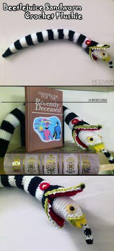 Beetlejuice Sandworm Crochet Plushie.  Halloween Party with Tim Burton.