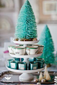 Create a Holiday Tea Bar using tiny bottle brush trees and vintage ornaments from Cedar Hill Farmhouse.