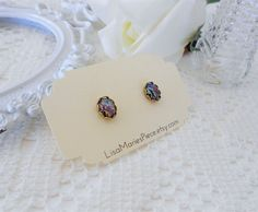 Black Opal Stud Earrings, Galaxy Studs, Nebula Earring Studs, Estate Jewelry, Rainbow Confetti, Oval Studs, Vintage Glass Studs, Outer Space by LisamariesPiece