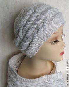 "Комплекты аксессуаров ручной работы. Комплект ""Косы"" белый. Риана (riana-design). Ярмарка Мастеров. Шапка вязаная, снуд вязаный Crochet Hood, Crochet Motif, Knit Crochet, Knitting Projects, Knitting Patterns, Crochet Patterns, Knitted Headband, Knitted Hats, Mitten Gloves"