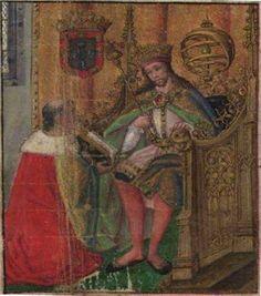 """El- Rei D. Manuel I """"O Venturoso"""", retrato. Dinastia: Avis. """"O rei está sentado no trono, rodeado pelas suas insígnias, com a coroa e o ceptro na mão, tal como nas xilogravuras das Ordenações Manuelinas que mandou abrir e que começaram a ser impressas por Valentim Fernandes em 1512. Ricamente vestido, de joelhos, o cronista entrega nas mãos do rei o fruto do seu trabalho esperando a recompensa pela sua obra."""" Editorial: Real Lidador Portugal"""