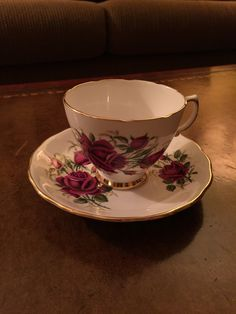 Colclough Cup & Saucer Set Red Roses by AlbertsonMiller on Etsy