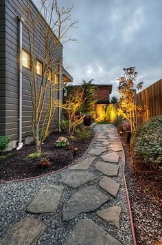 Traditional Landscape/Yard with Horizontal siding commercial brown, Flagstone path, Raised beds, exterior stone floors, Fence Gravel Garden, Garden Paths, Outdoor Landscaping, Front Yard Landscaping, Landscaping Ideas, Backyard Patio, Verge, Flagstone Path, Traditional Landscape