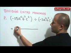 División entre Monomios: Julio Rios muestra cómo realizar la división entre monomios algebraicos, explicando detalladamente tres ejercicios.