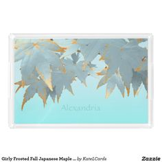 Girly Frosted Fall Japanese Maple Leaves Garland Rectangle Serving Trays