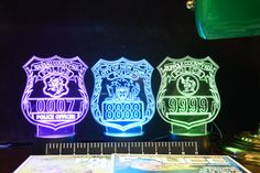 NYPD Nassau and Suffolk Police Badge Gift Light - Color Changing Desk Light - Select Design or request your own Best Police Gift by PremierDisplayInc on Etsy New York Police, Police Gifts, Custom Patches, Badge Design, Desk Light, Nassau, Acrylic Colors, Light Colors, Custom Design