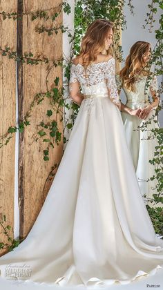papilio 2018 bridal three quarter sleeves off the shoulder heavily embellished bodice romantic a line wedding dress lace back chapel train (8) bv
