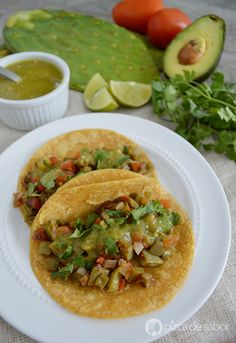 Tacos de nopal o tacos de nopales a la mexicana www.pizcadesabor.com