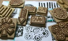 """""""Yes I used thick craft foam and a wood burning tool. Mindy demonstrates this in the stamp carving section of Frolic. I loved doing this and I'm going to do some more! Ts addictive! Foam Crafts, New Crafts, Craft Foam, Paper Crafts, Paper Toys, Homemade Stamps, Eraser Stamp, Foam Stamps, Stencils"""