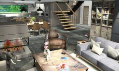 Creation d interieur 3d style atelier chic. Interior design 3d creation. www.passionnement-meuble.com