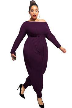Plus Size Purple Off-shoulder Long Sleeves Her Jumpsuit