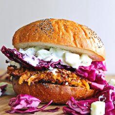 Carrot tahini quinoa burgers with tzatziki