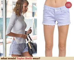 Taylor Swift's frayed denim shorts. Outfit Details: http://wwtaylorw.com/3118