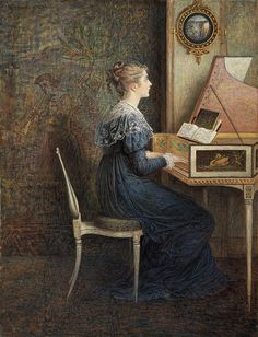 ♪ The Musical Arts ♪ music musician paintings - William John Hennessy   An Old Song
