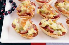 kids party food idea- uses those little oven bake bread rolls halved