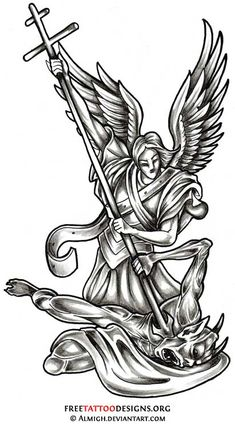 Angel Tattoos   Angel Wings, Guardian Angel and St Michael Designs
