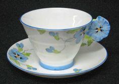 Royal Paragon CUP & SAUCER - FLOWER HANDLE - Blue Pansy - Art Nouveau