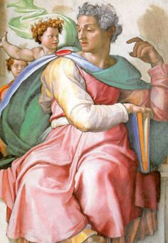 ❤ - Michelangelo - Sistine Chapel, would you ever think they would use such bright colors. A close up veiw of the prophet Isaiah in the Sistine Chapel. Renaissance Kunst, High Renaissance, Renaissance Paintings, Caravaggio, Fresco, Michelangelo Paintings, Sistine Chapel Ceiling, Prophet Isaiah, Sacred Art