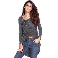 2016 Fashion Sexy Long Sleeve Lace Up V Neck Women Blouse Cross Front  Irregular Hem Loose Casual Long Tops Plus Size Blusas. Women s Clothing 0d5426afa