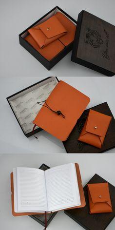 Leather mens set Mens journal and card cases Orange notebook Orange set Personalized mens set Gifts for mom Personalized gifts Leather gifts