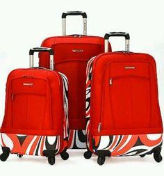 Olympia 'Kauai' Red 3-piece Durable Hybrid Spinner Luggage Set