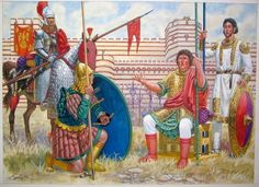 Byzantine warriors prepare to defend Constantinople from the Bulgarians, 913 AD
