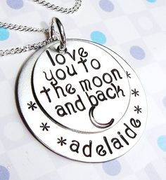 Handstamped mother jewelry Love you to the moon and by ArtOfSilver, $52.00