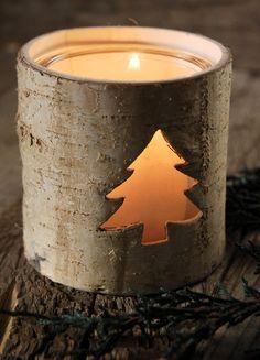 "Birch Bark 3.5"" Christmas Candle Holders $5 each / 3 for $4 each @Becky Gilbert"