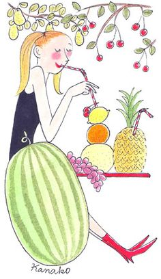 My Little Paris, Kanako illustration Little App, Tears In Heaven, Little Paris, Girly, Paris Pictures, Paris Art, Illustration Girl, Food Illustrations, Summer Art