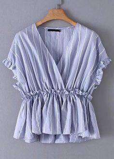 Shop V-neck Striped Peplum Blouse online. SHEIN offers V-neck Striped Peplum Blouse & more to fit your fashionable needs. Dressy Tops, Peplum Blouse, Sleeveless Blouse, Blouse Styles, Blouse Designs, Blouses For Women, T Shirts For Women, Women's Blouses, Blue Fashion
