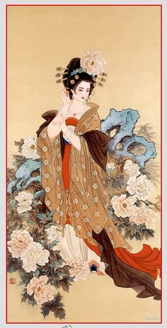 Yang Yuhuan also called Yang Guifei by most Chinese - One of the Four Beauties in Ancient China Ancient China, Ancient Art, Ancient Beauty, Chinese Painting, Chinese Art, A4 Poster, Poster Prints, Art Chinois, Art Asiatique