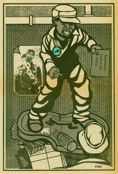 "Emory Douglas: He was the beginning ""Lil"" Bobby Hutton, he was murdered by the oakland police April 6, 1968 unarmed and shot 17 times. Huey Newton and Bobby Seale had mentored LiL Bobby and got permission from his mother to allow him to join then The Black Panther Party for Self Defense at the age of fifteen."