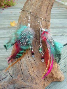 Boho Feather Earrings, Southwest Earrings, Colorful Earrings, Bohemian Jewelry