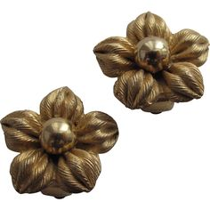 #2971 Napier Flower Earrings Gold Tone Chunky Exclusively at Lee Caplan Vintage Collection  on RubyLane