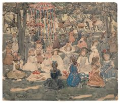 """May Day Picnic, Central Park""  by Maurice Brazil Prendergast  ca. 1900-1903 at Williams College Museum of Art"