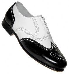 newest collection fd47c a25c8 Aris Allen Men  Black and White Spat Style Wingtip Dance Shoe