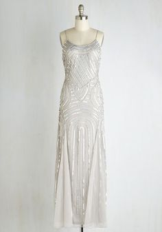 Full Gleam Ahead Dress - Grey, Solid, Beads, Sequins, Special Occasion, Vintage Inspired, 20s, Maxi, Spaghetti Straps, Woven, Mixed Media, Best, Exclusives, Holiday Party, Homecoming, Long