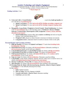 Assistive Technology and Adaptive Equipment Pedretti's Occupational Therapy 7th edition ***Read Chapter 10 (these notes cover up to Hemiplegia)   Page 2