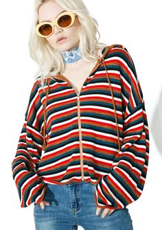 Rayanne Zip Up Hoodie didn't we have a time, babe? Try and stay outta trouble in this chill hoodie featuring a stripey soft knit construction, relaxed cropped fit, drawstring hood, rolled hem and cuffs with zipper closure.