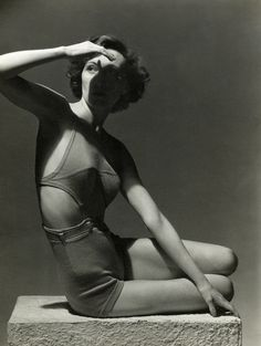 Model in Jantzen suit with daringly cutaway sides, Vogue, 1934. Photo by Horst P. Horst. °