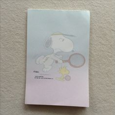 Snoopy beim Tennis - kleiner Notizblock. Peanuts by Schulz.