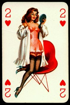 Pin Up Playing Card - Two of Hearts by cigcardpix, via Flickr