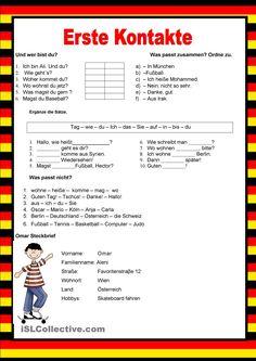 Willkommen auf Deutsch - Erste Kontakte - perönliche Informationen German Grammar, German Words, German Resources, German Language Learning, Grammar And Vocabulary, Learn German, Science Education, English Lessons, Thing 1
